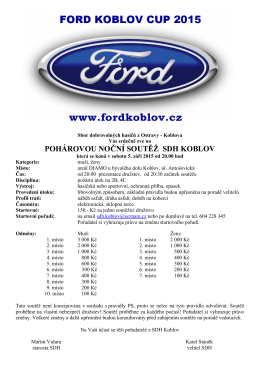 Pozvánka Ford Koblov Cup 2015 SDH Koblov MUŽI, ŽENY