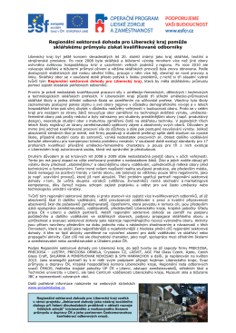Regionální sektorová dohoda pro Liberecký kraj pomůže