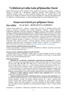 Vyhlášení a kritéria 1. kola přijímacího řízení