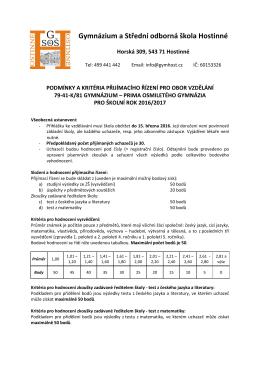 Kritéria přijímacího řízení pro primu gymnázia