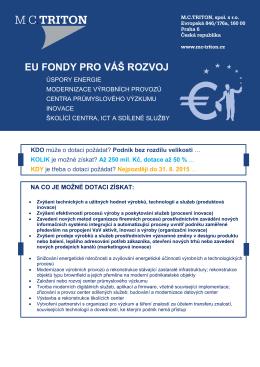 Využití EU dotací v soukromém sektoru - MC