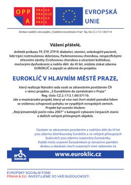 """letáček akce """"S Euroklíčem do zaměstnání v Praze"""""""