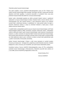 Třeboňské setkání řasových biotechnologů 30.11.2015