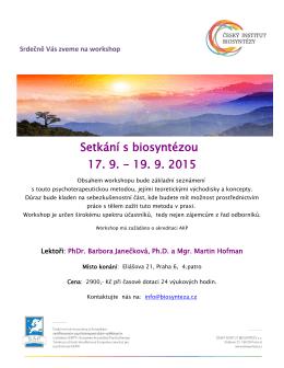 Setkání s biosyntézou 17. 9.