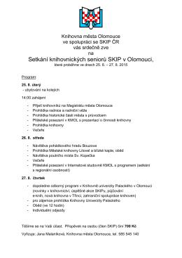 Setkání knihovnických seniorů SKIP v Olomouci,