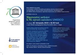 Slavnostní setkání k 70. výročí založení UNESCO