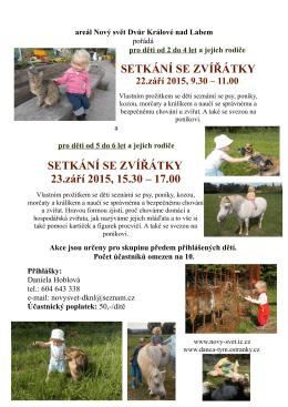 Setkání se zvířátky pro děti - NOVÝ SVĚT