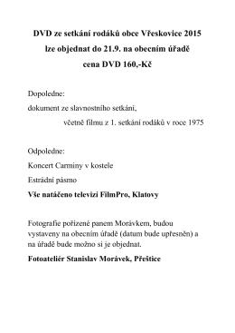 DVD ze setkání rodáků obce Vřeskovice 2015 lze objednat do 21.9