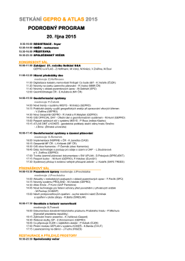 SETKÁNÍ GEPRO & ATLAS 2015 PODROBNÝ PROGRAM