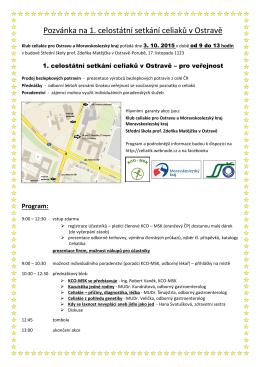 Pozvánka na 1. celostátní setkání celiaků v Ostravě