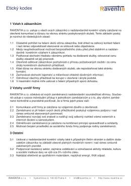Etický kodex - Raventia sro