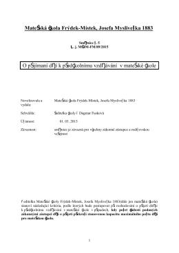 Mateřská škola Frýdek-Místek, Josefa Myslivečka