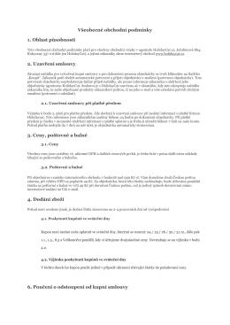 Všeobecné obchodní podmínky 1. Oblast