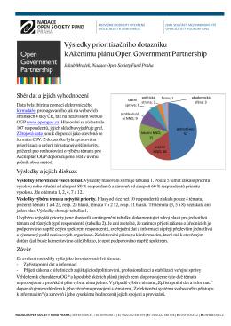 Výsledky prioritizačního dotazníku OGP