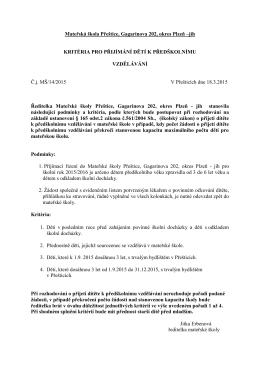 Kritéria pro přijetí - Mateřská škola Přeštice