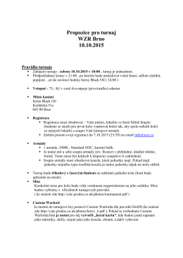 Propozice pro turnaj WZR Brno 10.10.2015