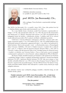 prof. MUDr. Jan Borovanský, CSc., prof. MUDr. Jan Borovanský, CSc.