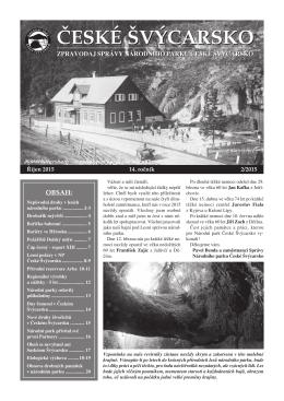 Číslo 2/2015 - Správa Národního parku České Švýcarsko