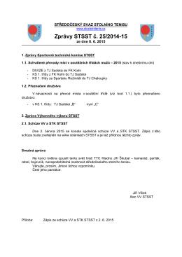 Zprávy STSST č. 25/2014-15 - Středočeský svaz stolního tenisu