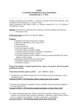 Zápis ze zasedání zastupitelstva 2.3.2015