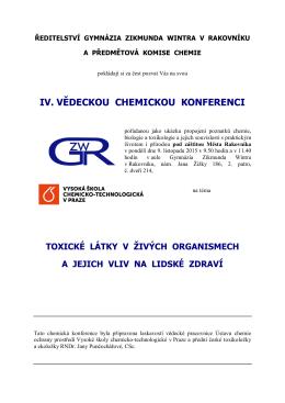IV. VĚDECKOU CHEMICKOU KONFERENCI