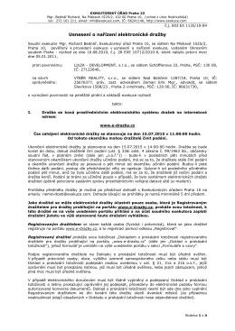Usnesení o nařízení elektronické dražby - e