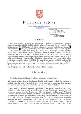 Finanční arbitr České republiky - Finanční arbitr a Kancelář
