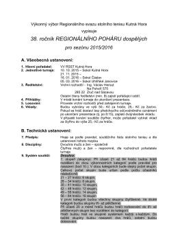 Propozice regionálního poháru dospělých 2015/16