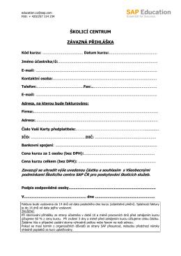 Přihláška pro registraci na SAP školení a certifikace