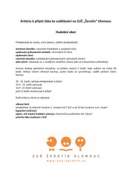 """Kritéria k přijetí žáka ke vzdělávání na ZUŠ """"Žerotín"""" Olomouc"""