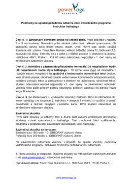 Podmínky kurzu IHA 2015