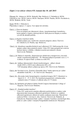 Zápis č. 6 ze schůze výboru STL konané dne 10. září 2015