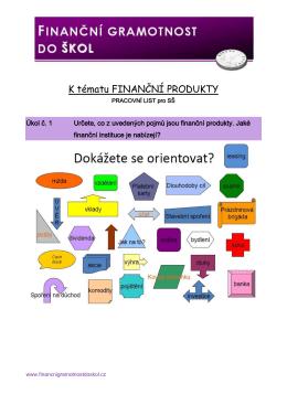 K tématu FINANČNÍ PRODUKTY - Finanční gramotnost do škol