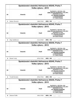 Společenství vlastníků Heřmanova 455/45, Praha 7 Volba
