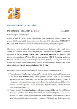 Informační Bulletin č. 3/2015 - Unie podnikových právníků ČR zs