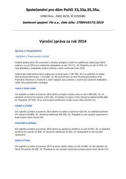 Výroční zpráva SVJ za rok 2014