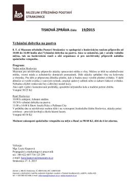 TISKOVÁ ZPRÁVA číslo: 19/2015 - Muzeum středního Pootaví