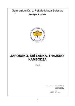 Zeměpis II. ročník JAPONSKO, SRÍ LANKA, THAJSKO, KAMBODŽA
