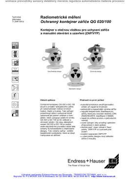 Radiometrické meranie kontajner QG020 QG100 QG 020 QG 100