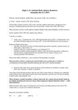 Zápis č. 41 z jednání Rady městyse Komárov, konaného dne 6.11