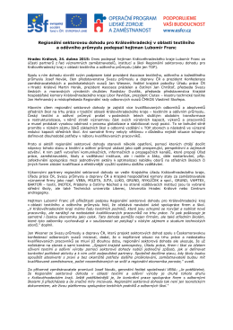 Uzavření Regionální sektorové dohoddy pro Královéhradecký kraj