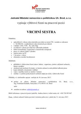 VRCHNÍ SESTRA - Městská nemocnice s poliklinikou Uherský Brod