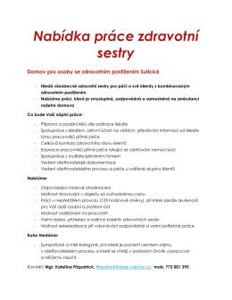 Nabídka práce zdravotní sestry