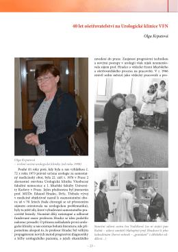 40 let ošetřovatelství na Urologické klinice VFN