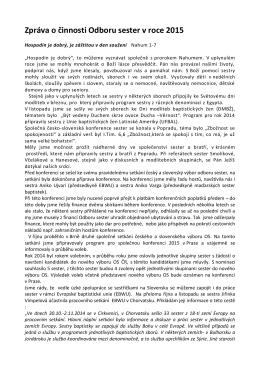 Zpráva o činnosti Odboru sester v roce 2015