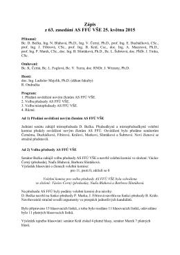 Zápis z 63. zasedání AS FFÚ VŠE 25. května 2015