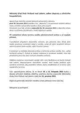 Městský úřad Dvůr Králové nad Labem, odbor dopravy a silničního