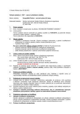 V Hradci Králové dne 02.09.2015 Veřejná zakázka č. 1547 – výzva k