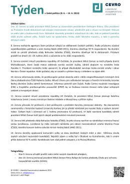 Týdenv české politice (8. 6. – 14. 6. 2015) Událost týdne