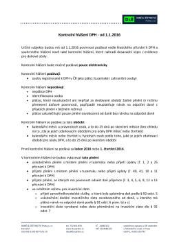 Kontrolní hlášení DPH - od 1.1.2016